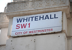 """Embargoed to 0001 Tuesday November 20 File photo dated 13/05/15 of a sign for Whitehall in London. Labour is promising to end the requirement for academic qualifications such as degrees or A-levels for jobs in the Civil Service unless they are """"genuinely relevant"""" to the role."""