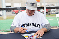 KELOWNA, CANADA - JUNE 28: NHL Montreal Canadiens player Brendan Gallagher signs an autograph table during the opening charity game of the Home Base Slo-Pitch Tournament fundraiser for the Kelowna General Hospital Foundation JoeAnna's House on June 28, 2019 at Elk's Stadium in Kelowna, British Columbia, Canada.  (Photo by Marissa Baecker/Shoot the Breeze)