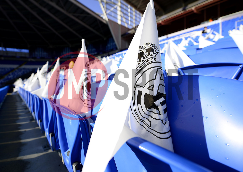 Madrid flags are set up for the fans in the Cardiff City Stadium - Photo mandatory by-line: Joe Meredith/JMP - Mobile: 07966 386802 12/08/2014 - SPORT - FOOTBALL - Cardiff - Cardiff City Stadium - Real Madrid v Sevilla - UEFA Super Cup