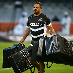 DURBAN, SOUTH AFRICA - MARCH 05: Omar Mouneimne (Defence coach) of the Cell C Sharks during the 2016 Super Rugby match between Cell C Sharks and Jaguares at Growthpoint Kings Park Stadium on March 05, 2016 in Durban, South Africa. (Photo by Steve Haag/Gallo Images)