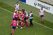 Sergio Parisse (Stade Francais) scored a try and celebrated it with Jules Plisson (Stade Francais), Geoffrey Doumayrou (Stade Francais), Waisea Nayacalevu Vuidravuwalu (Stade Francais), Waisea Nayacalevu Vuidravuwalu (Stade Francais)during the French Championship Top 14 Rugby Union match between Stade Francais Paris and Racing Metro 92 on April 30, 2017 at Jean Bouin stadium in Paris, France - Photo Stephane Allaman / ProSportsImages / DPPI
