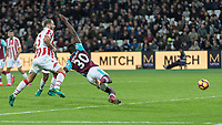 Football - 2016 / 2017 Premier League - West Ham United vs. Stoke City<br /> <br /> Michail Antonio of West Ham  falls and is denied a penallty  at The London Stadium.<br /> <br /> COLORSPORT/DANIEL BEARHAM