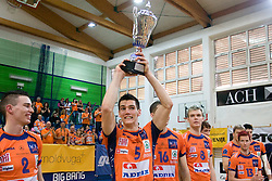 Alen Sket of ACH celebrates with a Trophy at final match of Slovenian National Volleyball Championships between ACH Volley Bled and Salonit Anhovo, on April 24, 2010, in Radovljica, Slovenia. ACH Volley defeated Salonit 3rd time in 3 Rounds and became Slovenian National Champion.  (Photo by Vid Ponikvar / Sportida)