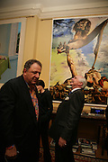 Jean Pigozzi, Sir Timothy Clifford. Party for Jean Pigozzi hosted by Ivor Braka to thank him for the loan exhibition 'Popular Painting' from Kinshasa'  at Tate Modern. Cadogan sq. London. 29 May 2007.  -DO NOT ARCHIVE-© Copyright Photograph by Dafydd Jones. 248 Clapham Rd. London SW9 0PZ. Tel 0207 820 0771. www.dafjones.com.