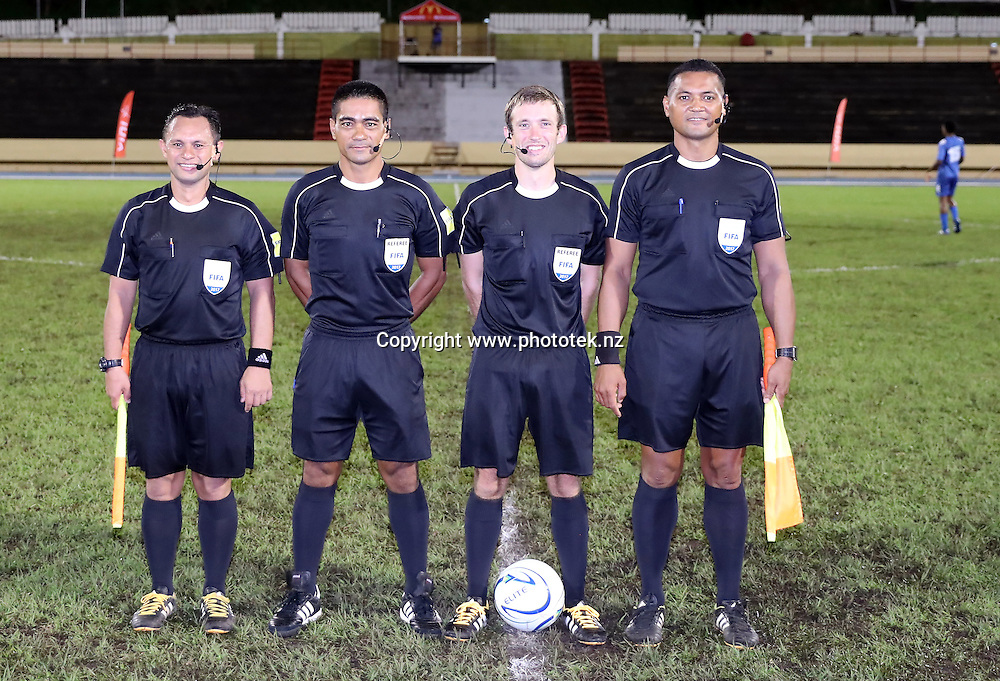 Referee Mederic Lacour and his assistants. OFC U-17 Championship 2017, New Zealand v Fiji, #NZLFIJ #OFCU17M Stade Pater, Papeete, Tahiti, Saturday 18th February 2017. Photo: Shane Wenzlick / www.phototek.nz