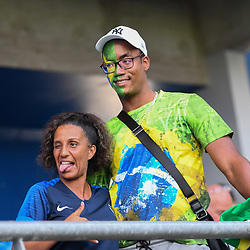 Fan of France with Fan of Brazil during the Women's World Cup match between Australia and Brazil at Stade de la Mosson on June 13, 2019 in Montpellier, France. (Photo by Alexandre Dimou/Icon Sport)