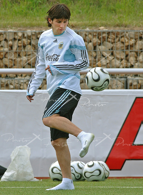 Argentina's forward Lionel Messi during a training session before the FIFA 2006 World Cup Germany's matches, in Herzogenaurach, June 6, 2006.  (Alejandro Pagni / PHOTOXPHOTO)