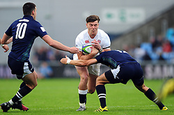 Johnny Williams of England takes on the Scotland U20 defence - Mandatory byline: Patrick Khachfe/JMP - 07966 386802 - 11/06/2016 - RUGBY UNION - Manchester City Academy Stadium - Manchester, England - England U20 v Scotland U20 - World Rugby U20 Championship 2016.