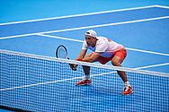 Sopot, Poland - 2018 April 08: Lukasz Kubot from Poland  plays while Men's Double Match Nr 3 during Poland v Zimbabwe Tie Group 2, Europe/Africa Second Round of Davis Cup by BNP Paribas at 100 years of Sopot Hall on April 08, 2018 in Sopot, Poland.<br /> <br /> Mandatory credit:<br /> Photo by © Adam Nurkiewicz / Mediasport<br /> <br /> Adam Nurkiewicz declares that he has no rights to the image of people at the photographs of his authorship.<br /> <br /> Picture also available in RAW (NEF) or TIFF format on special request.<br /> <br /> Any editorial, commercial or promotional use requires written permission from the author of image.