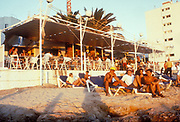 People sitting around outside Cafe Mambo, Ibiza 1998
