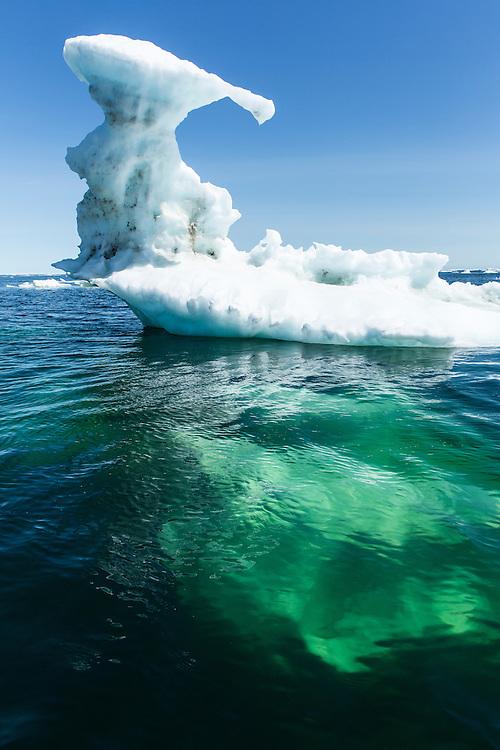 Canada, Manitoba, Melting sea ice on Hudson Bay near Cape Tatnum