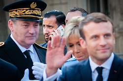 © Licensed to London News Pictures. FILE PICTURE 14/05/2017 Hôtel de Ville, Paris, France. Alexandre Benalla (centre rear) pictured with president Emmanuel Macron at his inauguration after being elected to office. Mr Benalla, a close security aide to Mr Macron, is facing disciplinary action after damning video evidence emerged of him assaulting demonstrators at a May Day demonstration while wearing a CRS riot helmet and a police armband - an ever present shadow to Mr Macron, Benalla continued to serve in his capacity as a security advisor and bodyguard following a light reprimand from the Elysee while the mounting scandal and accusations of an attempted cover up escalated. Macron called an emergency meeting on Sunday to manage the crisis, while Benalla was arrested and remanded in custody over the weekend on charges of violence by a public official, impersonating a police officer and the illegal use of police insignia. Benalla was due to be getting married on Saturday. Macron's popularity ratings fell to an all time low of 39% last week, quashing hopes that the World Cup win would give him a boost. Photo credit: Guilhem Baker/LNP