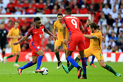 Raheem Sterling of England takes on Josh Risdon of Australia  - Mandatory by-line: Matt McNulty/JMP - 27/05/2016 - FOOTBALL - Stadium of Light - Sunderland, United Kingdom - England v Australia - International Friendly