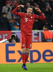 MUNICH, Nov. 28, 2018  Bayern Munich's Robert Lewandowski celebrates his first score during a 5th round match in group E of UEFA Champions League between Bayern Munich of Germany and SL Benfica of Portugal, in Munich, Germany, on Nov. 27, 2018. Bayern Munich won 5-1. (Credit Image: © Philippe Ruiz/Xinhua via ZUMA Wire)