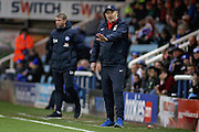 Coventry City Manager Russell Slade gives out orders during the EFL Sky Bet League 1 match between Peterborough United and Coventry City at London Road, Peterborough, England on 31 December 2016. Photo by Nigel Cole.