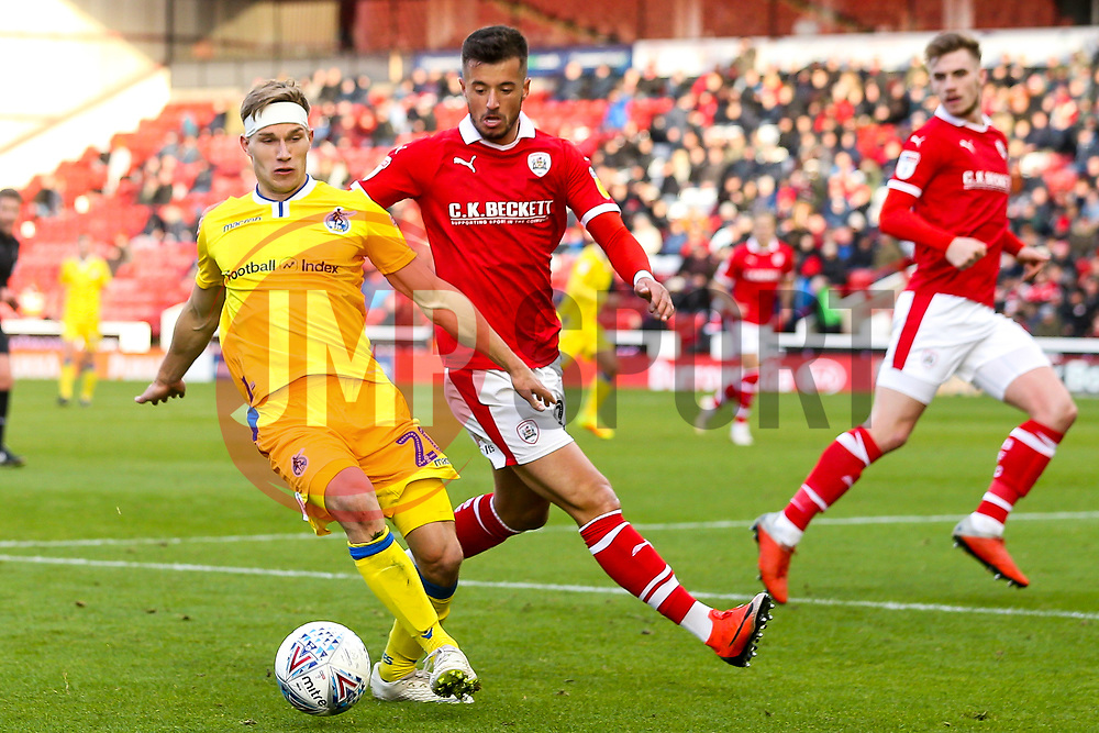 Gavin Reilly of Bristol Rovers takes on Daniel Pinillos of Barnsley - Mandatory by-line: Robbie Stephenson/JMP - 27/10/2018 - FOOTBALL - Oakwell Stadium - Barnsley, England - Barnsley v Bristol Rovers - Sky Bet League One