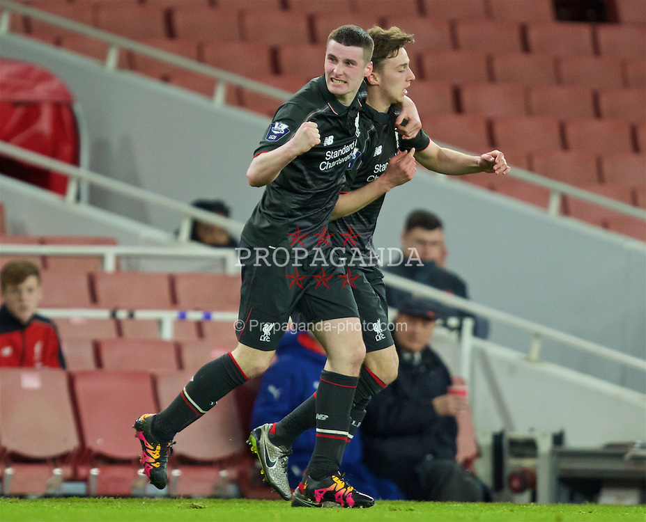 LONDON, ENGLAND - Friday, March 4, 2016: Liverpool's Corey Whelan (L) congratulates Conor Masterson after his goal against Arsenal during the FA Youth Cup 6th Round match at the Emirates Stadium. (Pic by Paul Marriott/Propaganda)
