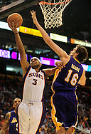 Oct. 29 2010; Phoenix, AZ, USA; Phoenix Suns guard-forward Jared Dudley (3) puts up a basket against Los Angeles Lakers forward-center Pau Gasol (16) during the second quarter at the US Airways Center. Mandatory Credit: Jennifer Stewart-US PRESSWIRE.