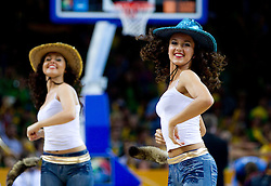 Cheerleaders Zalgiris Dancers during basketball game between National basketball teams of F.Y.R. of Macedonia and Lithuania at Quarterfinals of FIBA Europe Eurobasket Lithuania 2011, on September 14, 2011, in Arena Zalgirio, Kaunas, Lithuania. (Photo by Vid Ponikvar / Sportida)
