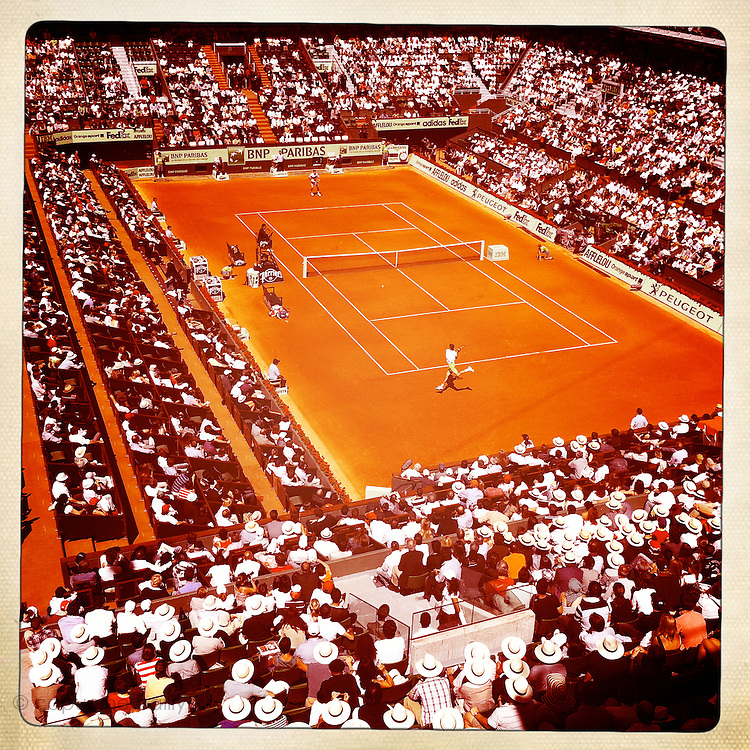 Roland Garros 2011. Paris, France. May 28th 2011..French player Gilles SIMON (bottom) against Mardy FISH on the court Philippe Chatrier