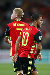 August 31, 2017 - Liege, BELGIUM - Belgium's Kevin De Bruyne and Belgium's Eden Hazard pictured during a soccer between Belgian national soccer team Red Devils and Gibraltar, a World Cup 2018 qualification game in Group H, Thursday 31 August 2017 in Liege, Belgium. BELGA PHOTO BRUNO FAHY (Credit Image: © Bruno Fahy/Belga via ZUMA Press)