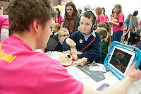 23/01/2014 Tommy Sweeney with Paddy the Teddy  at Teddy Bear Hospital at NUI, Galway where Medical Students got used to dealing with Children and Kids get used to the Hospital procedures. Photo:Andrew Downes.