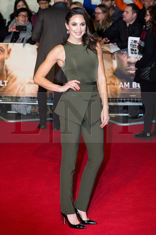 © Licensed to London News Pictures. 28/11/2016. LAURA WRIGHT attends the I Am Bolt world film premiere. London, UK. Photo credit: Ray Tang/LNP