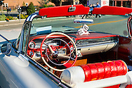 Sept. 15, 2012 - New Hyde Park, New York, U.S. - A 1959 white Cadillac convertible, with red and white interior, is at New York AutoFest at New Hyde Park Car Show and Street Fair.