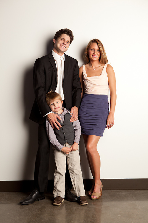 "19 September 2011- Kathleen ""Katie"" Huerter, her son Sabastian, and husband Nick are photographed at minorwhite studios for Omaha Magazine."
