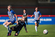 Erin Cuthbert (Chelsea) & Megan Connolly (Brighton) during the FA Women's Super League match between Brighton and Hove Albion Women and Chelsea at The People's Pension Stadium, Crawley, England on 15 September 2019.