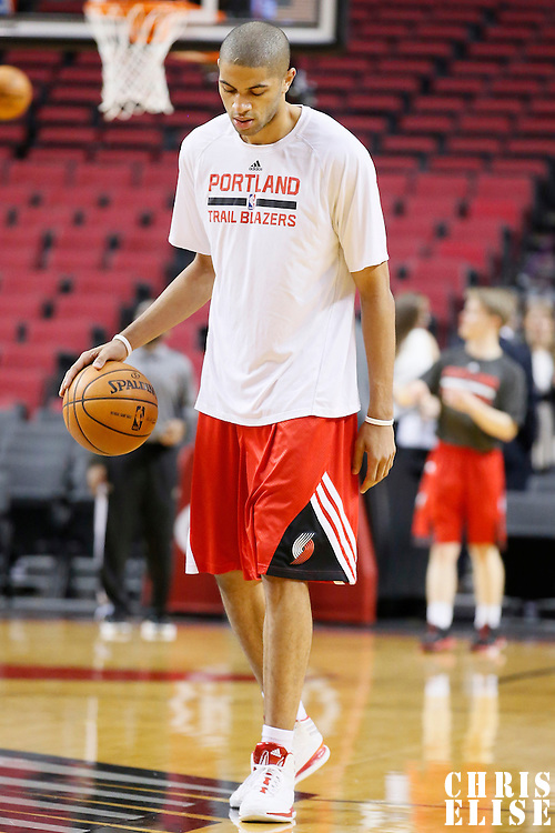 02 December 2013: Portland Trail Blazers small forward Nicolas Batum (88) warms up prior to the Portland Trail Blazers 106-102 victory over the Indiana Pacers at the Moda Center, Portland, Oregon, USA.