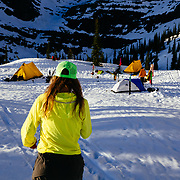 Lynsey Dyer heads from the Glacier View Bistro kitchen of basecamp.