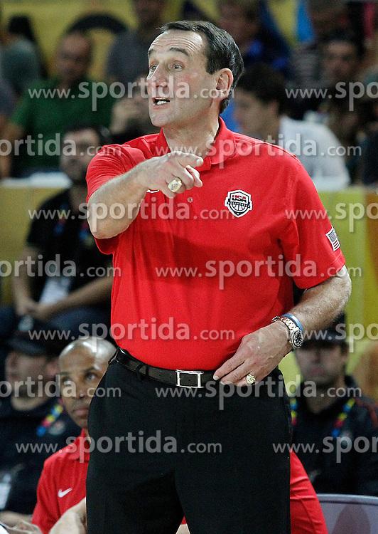 02.09.2014, City Arena, Bilbao, ESP, FIBA WM, USA vs Neuseeland, im Bild USA's coach Mike Krzyzewski // during FIBA Basketball World Cup Spain 2014 match between USA and New Zealand at the City Arena in Bilbao, Spain on 2014/09/02. EXPA Pictures &copy; 2014, PhotoCredit: EXPA/ Alterphotos/ Acero<br /> <br /> *****ATTENTION - OUT of ESP, SUI*****