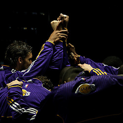 April 24, 2011; New Orleans, LA, USA; Los Angeles Lakers players huddle up  before tip off of game four of the first round of the 2011 NBA playoffs against the New Orleans Hornets at the New Orleans Arena.    Mandatory Credit: Derick E. Hingle