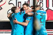 ENSCHEDE - 17-12-2016, FC Twente - AZ, Grolsch Velst Stadion,  AZ speler Wout Weghorst (m) heeft de 0-1 gescoord, AZ speler Ben Rienstra (l), AZ speler Robert Muhren (r).