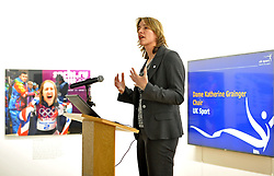 UK Sport chair Dame Katherine Grainger, during the press conference to announce the UK Sport medal target for the Winter Olympics and Paralympics at the Korean Cultural Centre UK in London.