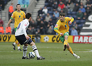 Preston - Saturday February 14th, 2009: Barry Nicholson of Preston North End and Wesley Hoolahan of Norwich City during the Coca Cola Championship match at Deepdale, Preston. (Pic by Michael Sedgwick/Focus Images)
