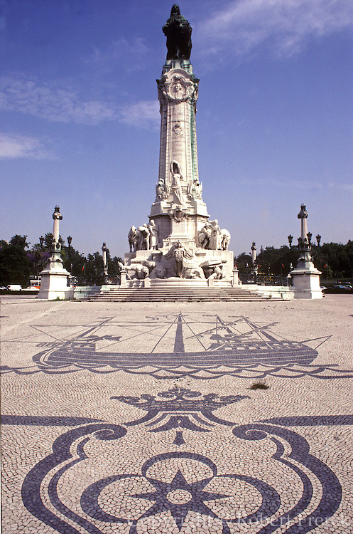 PORTUGAL, LISBON Praca Marques de Pombal; with a statue of the Minister who rebuilt the city after the 1755 earthquake with mosaic pavement