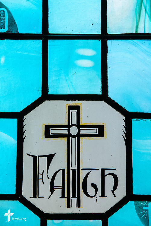 "Stained glass at Luther Memorial Chapel depicts ""faith"" on Friday, Jan. 29, 2016, in Shorewood, Wis. LCMS Communications/Erik M. Lunsford"