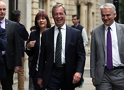 "© Licenced to London News Pictures. 26/05/2014. London. UK.  <br /> Nigel Farage, leader of the UK Independence Party (UKIP), is pictured celebrating his European Parliamentary success in a press conference in London, May 26th 2014. The UKIP leader said his ""dream has become a reality"" and UKIP is now the ""third force"" in British politics after it topped the European polls.<br /> Photo Credit: Susannah Ireland"