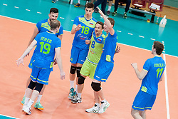 Players of Slovenia celebrate point during volleyball match between National Teams of Slovenia and FRY Macedonia of 2014 CEV Volleyball European League Man - Pool B, on July 5, 2014, in Arena Ljudski vrt Lukna, Maribor, Slovenia, Slovenia. Photo by Urban Urbanc / Sportida