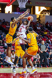 NORMAL, IL - February 15: Antonio Reeves gets off a shot while tripled on by Mileek McMillan, Ryan Fazekas and Donovan Clay during a college basketball game between the ISU Redbirds and the Valparaiso Crusaders on February 15 2020 at Redbird Arena in Normal, IL. (Photo by Alan Look)