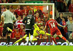 27.08.2013, Anfield, Liverpool, ENG, League Cup, FC Liverpool vs Notts County FC, 2. Runde, im Bild Liverpool's Jordan Henderson scores his side's fourth goal against Notts County during the English League Cup 2nd round match between Liverpool FC and Notts County FC, at Anfield, Liverpool, Great Britain on 2013/08/27. EXPA Pictures © 2013, PhotoCredit: EXPA/ Propagandaphoto/ David Rawcliffe<br /> <br /> ***** ATTENTION - OUT OF ENG, GBR, UK *****