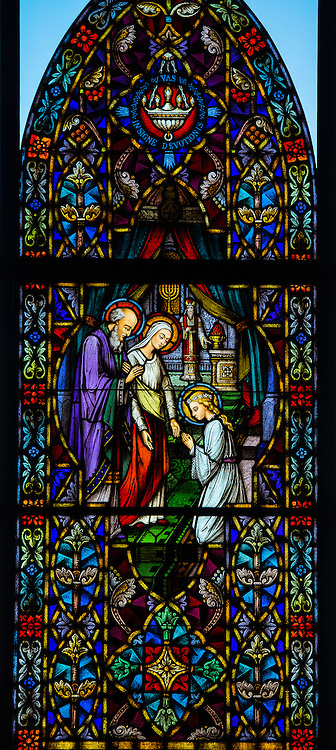 Stained glass window at Holy Family Church in Brillion, Wis. Presentation of the Virgin Mary in the Temple. (Sam Lucero photo)