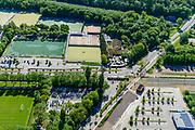 Nederland, Utrecht, Utrecht, 13-05-2019; Het trace van de Uithoflijn (tramlijn), kruist de Koningsweg en volgt de Laan van Maarschalkerweerd, naar links, richting Uithof.<br /> De Uithoflijn is de sneltram verbinding tussen Utrecht Centraal en Utrecht Science Park / De Uithof.<br /> Uithoflijn, the express tram connection between Utrecht Central Station and Utrecht Science Park / De Uithof.<br /> luchtfoto (toeslag op standard tarieven);<br /> aerial photo (additional fee required);<br /> copyright foto/photo Siebe Swart