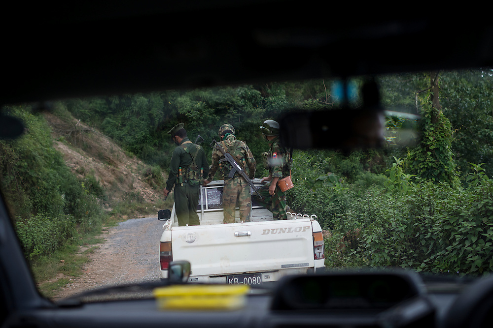 Mai Ja Yang 20160909<br /> K.I.A. rebells driving back to their base from one of their outposts near Mai Ja Yang in Kachin State, Myanmar.<br /> Photo: Vilhelm Stokstad / Kontinent