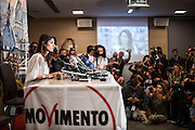 Virginia Raggi in conferenza stampa dopo l'elezione a Sindaco di Roma di Virginia Raggi, Roma 19 giugno 2016. Christian Mantuano / OneShot<br /> <br /> Virginia Raggi during the press conference after the election for Mayor of Rome Virginia Rays, Rome 19 June 2016. Christian Mantuano / OneShot