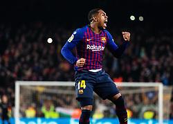 6 th, February  2019, Camp Nou, Barcelona, Spain. ..Copa del Rey, partido entre el FC Barcelona y el R.Madrid...Malcom (14) celebra el empate a 1...El partido ha finalizado 1-1 con goles de (17) Lucas Vázquez y Malcom (14)...© Joan Gosa 2019/Xinhua 2019. (Credit Image: © Joan Gosa/Xinhua via ZUMA Wire)