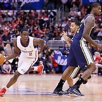 01 February 2014: Los Angeles Clippers point guard Darren Collison (2) drives past Utah Jazz point guard Trey Burke (3) during the Los Angeles Clippers 102-87 victory over the Utah Jazz at the Staples Center, Los Angeles, California, USA.