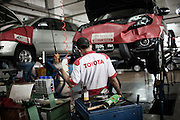 JAKARTA, INDONESIA, MAY 2013: Toyota Service Center at Astra International Showroom in Sunter area, North of Jakarta, May 2013.<br /> <br /> &copy; Giulio Di Sturco for Bloomberg Markets
